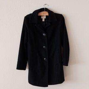 Ladies long black wool coat